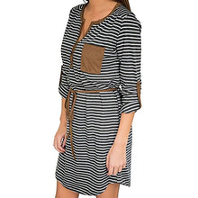Load image into Gallery viewer, Women's Casual Comfortable Mini long Sleeve Baggy Striped Dress