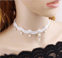 Load image into Gallery viewer, Beautiful Vintage Victorian style White lace Pearl choker necklace Jewelry 2pcs