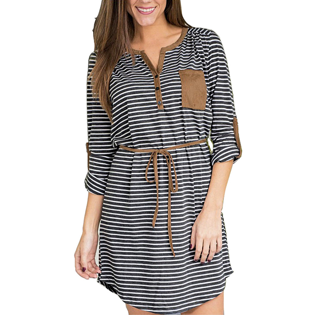 Women's Casual Comfortable Mini long Sleeve Baggy Striped Dress