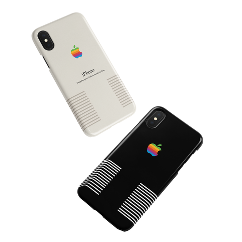 Retro Macintosh Apple Vintage Old Logo Black or White iPhone Case