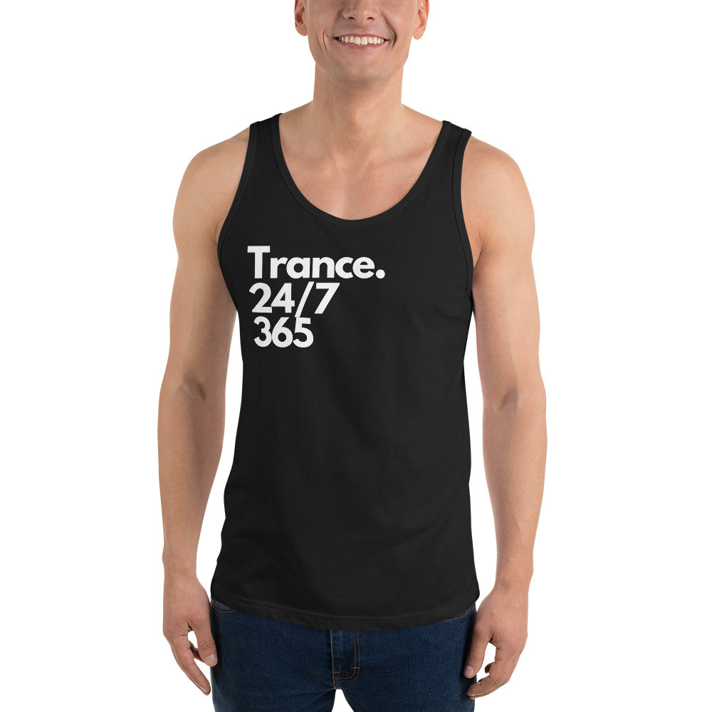 'Trance 24/7, 365' Men's Tank Top (Black, Asphalt, True Royal, Athletic Heather)