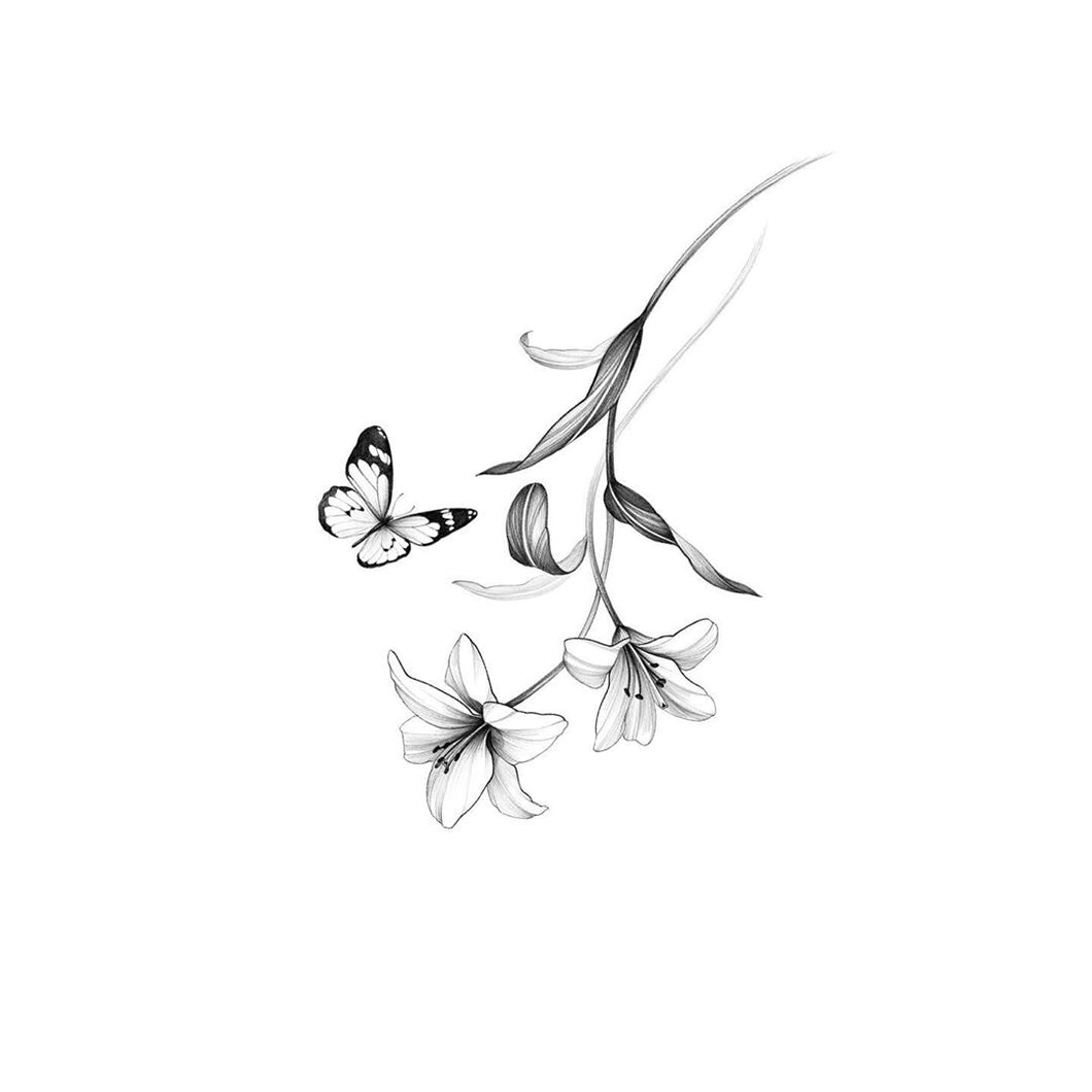Flower and butterfly tattoo