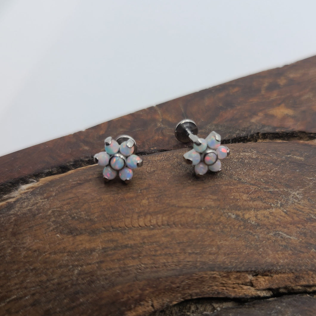 Titanium Jewelry Opal Flower (P032)
