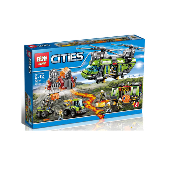 Lepin Cities Series Volcano Heavy-Lift Helicopter Blocks 1430 Pcs 02087