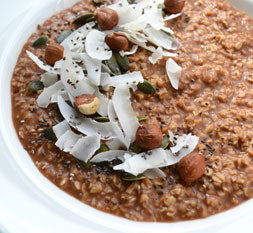 Chocolate and hazelnut superfood porridge