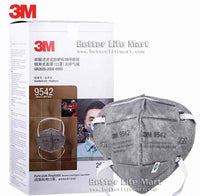 3M 9542 KN95 Particulate Respirator Face Mask, Nuisance Level Organic Vapor Relief , Activated Carbon, Headband, No Valve, On FDA EUA list for Covid 19 protection, individually sealed, fast f