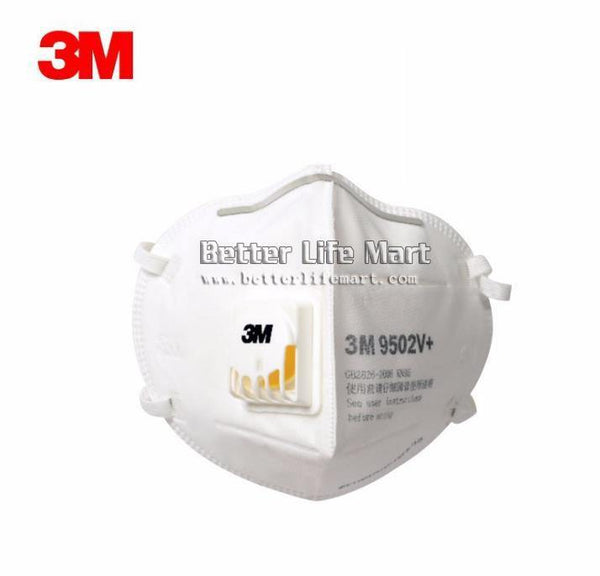 3M 9502V+ KN95 Particulate Respirator Face Mask, Headband, with Valve, On FDA EUA list for covid 19 protection, 25pcs / bag, fast free shipping - Better Life Mart