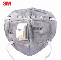 3M 9542V KN95 Particulate Respirator Face Mask,Nuisance Level Organic Vapor Relief , Activated Carbon,Headband, With Valve, On FDA EUA list for Covid 19 protection,  individually sealed, fast