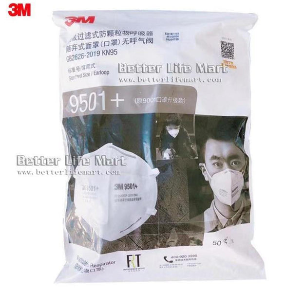 3M 9501+ KN95 Particulate Respirator Face Mask, Earloop, No Valve, On FDA EUA list for Covid 19 protection, 50pcs / bag, fast free shipping - Better Life Mart