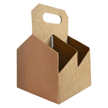 Load image into Gallery viewer, C-Store Packaging | 4 Pack Kraft Wine Carriers