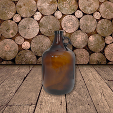 Load image into Gallery viewer, 1 Gallon (128 oz) Amber Glass Jug/Growler With 38mm Black Polyseal Lid & Cap