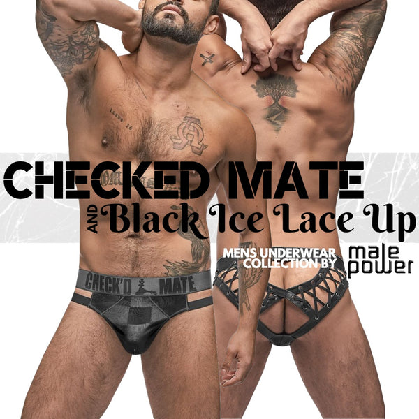 Get Tangled or Make Your Move with Male Power's Checked Mate and Lace Up Collection