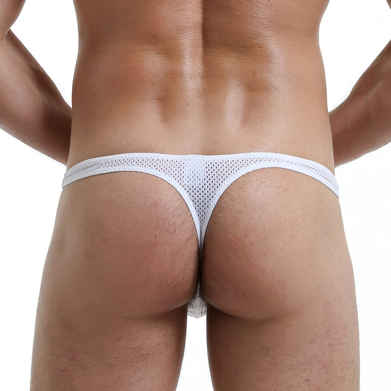 Mens Net Mesh Thong White