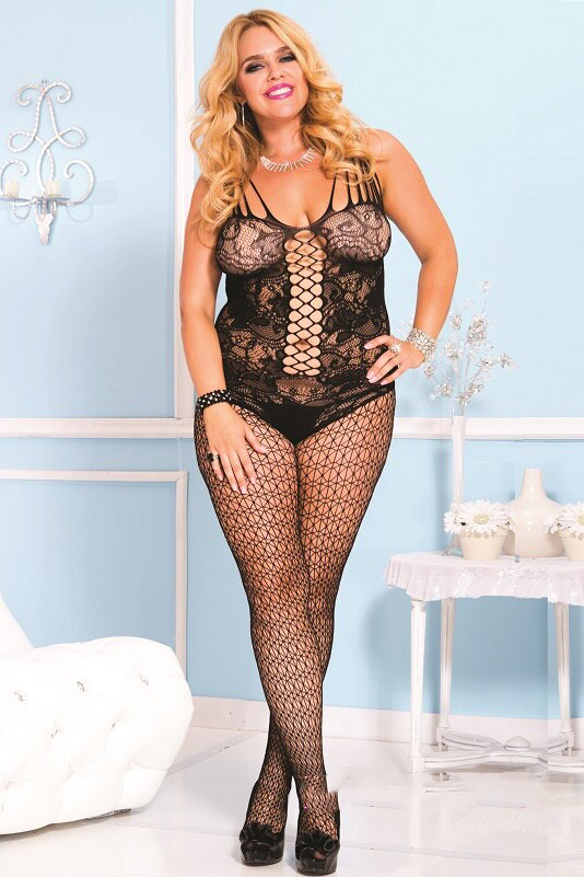 Unisex Lace Bodystocking with Net Black