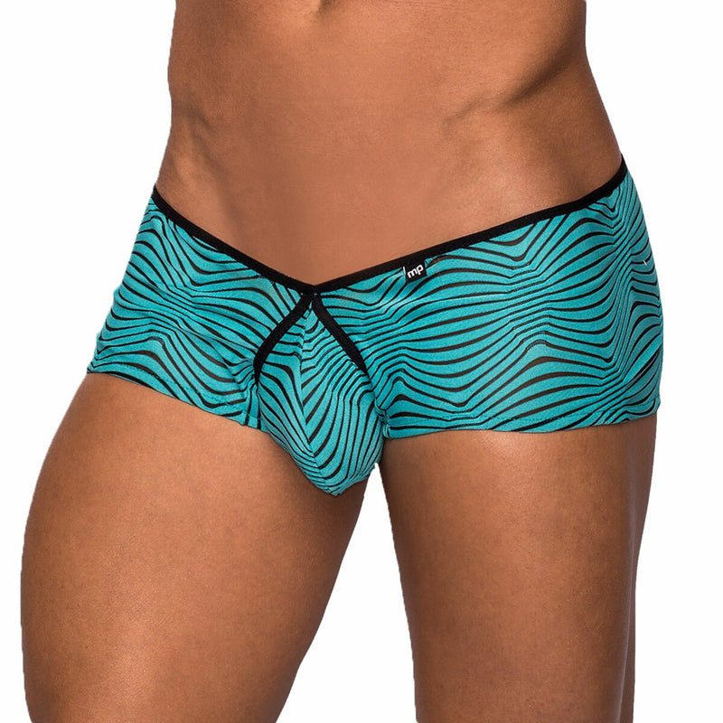Male Power Zebra Inspired Mini Short Black and Teal