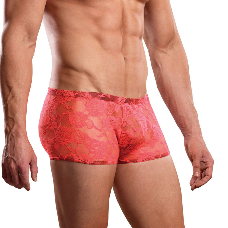 Mens Stretch Lace Boxer Brief Coral