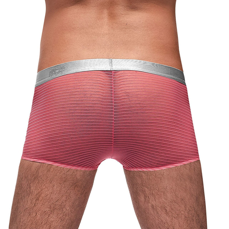 Mens Rib Mini Boxer Shorts Coral