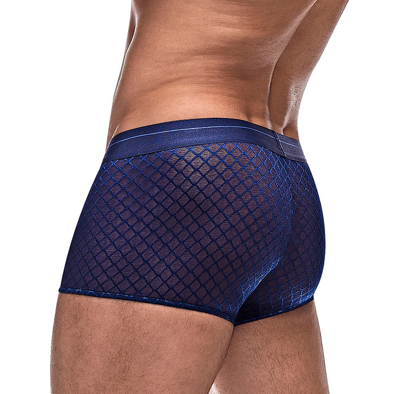 Mens Male Power Sheer Diamond Mesh Mini Shorts Navy