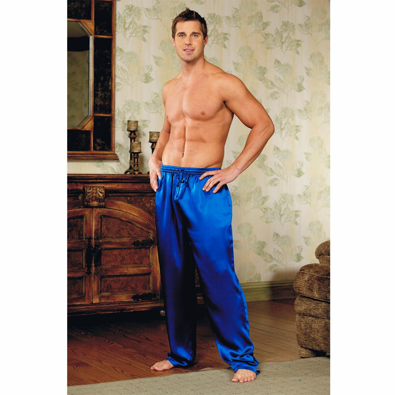 Mens Silk Satin PJ Lounge Pants Blue