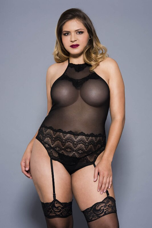 Stretch Mesh and Lace Teddy with Garters Black