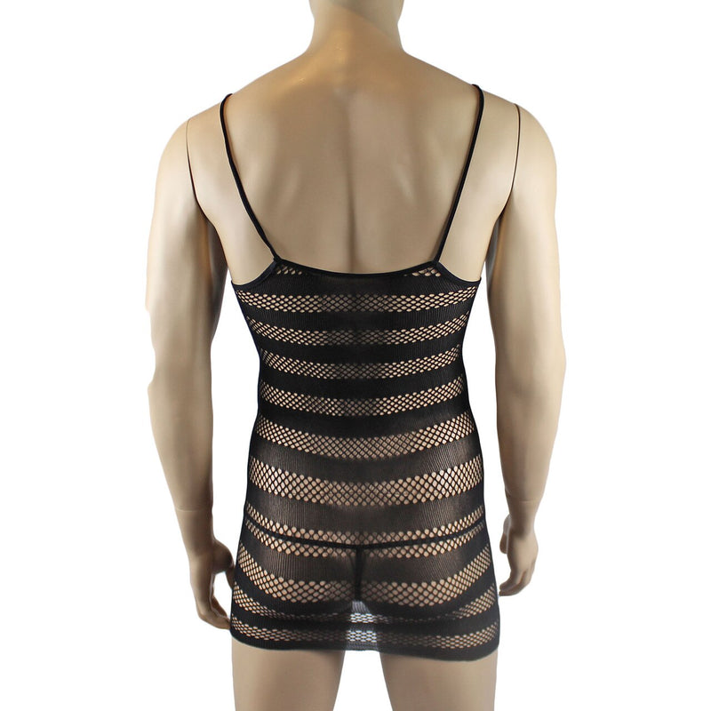 Fishnet Stripes Micro Mini Dress for Male & Female Bodies Black