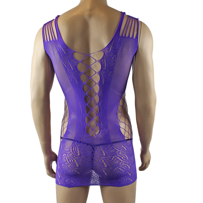 Male and Female Unisex Stretch Micro Mini Dress with Front Lacing Purple