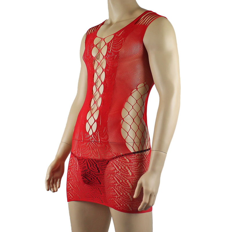 Male and Female Unisex Stretch Micro Mini Dress with Front Lacing Red