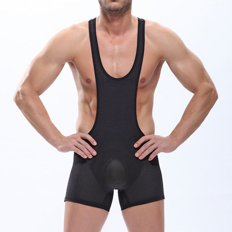 Mens Mesh Wresting Bodysuit Black