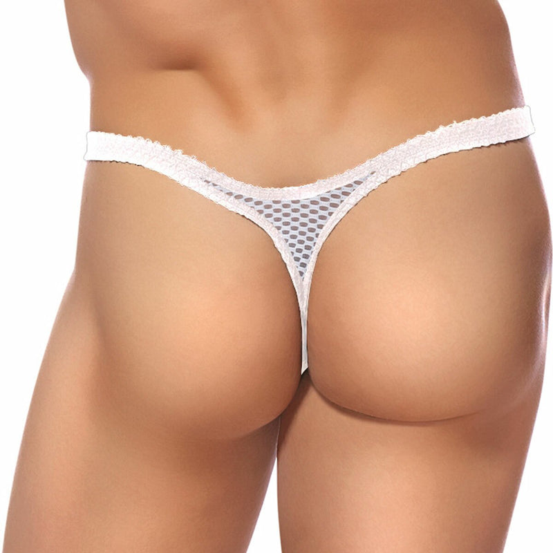 Mens Stretch Net  Bong Thong White
