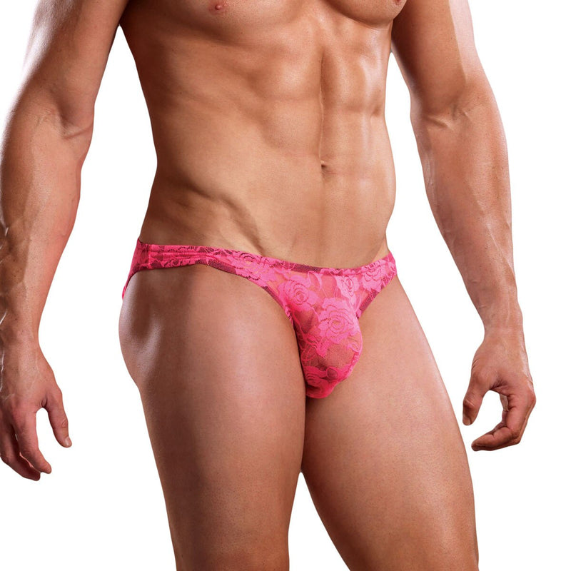 Stretch Floral Lace Bikini Brief Pink