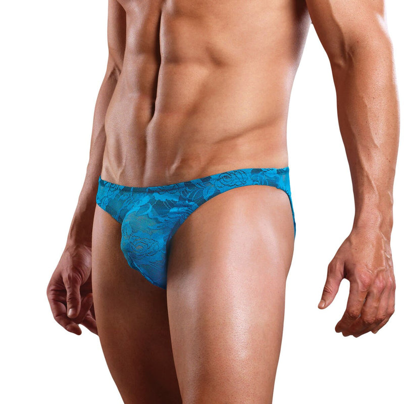 Stretch Floral Lace Bikini Brief Turquoise