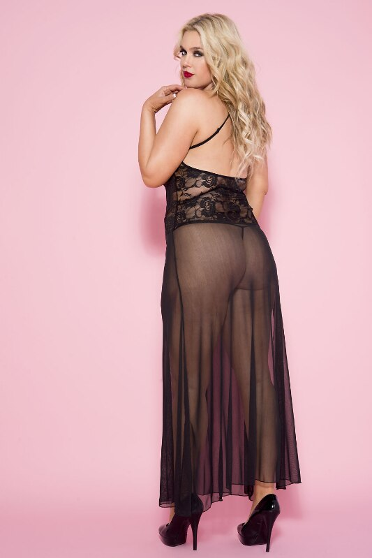 Stretch Lace Long Gown with Mesh Skirt Black