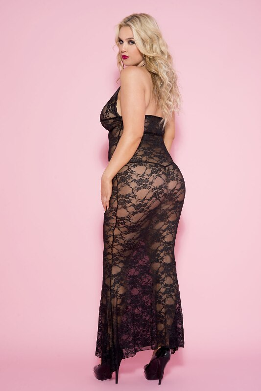Stretch Floral Lace Long Gown Nightwear Black
