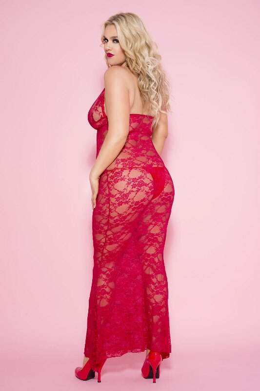 Stretch Floral Lace Long Gown Nightwear Red