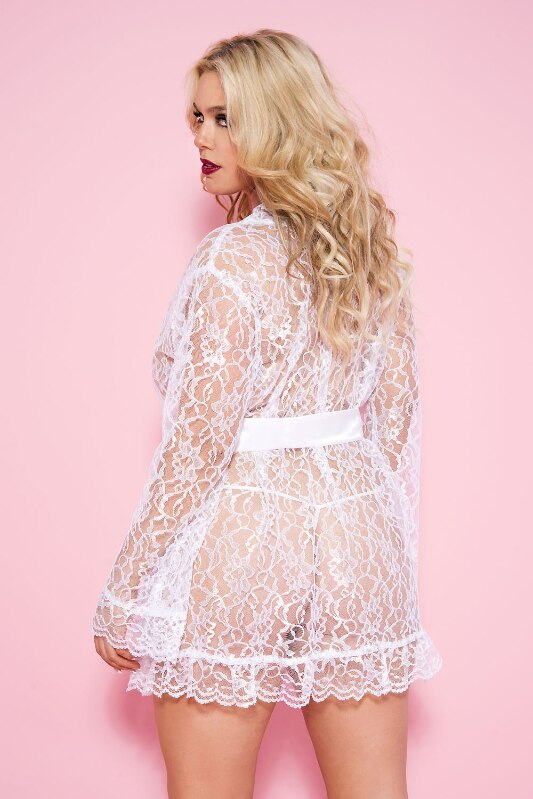 Lace Robe with Tie Belt White, Feminine and Pretty