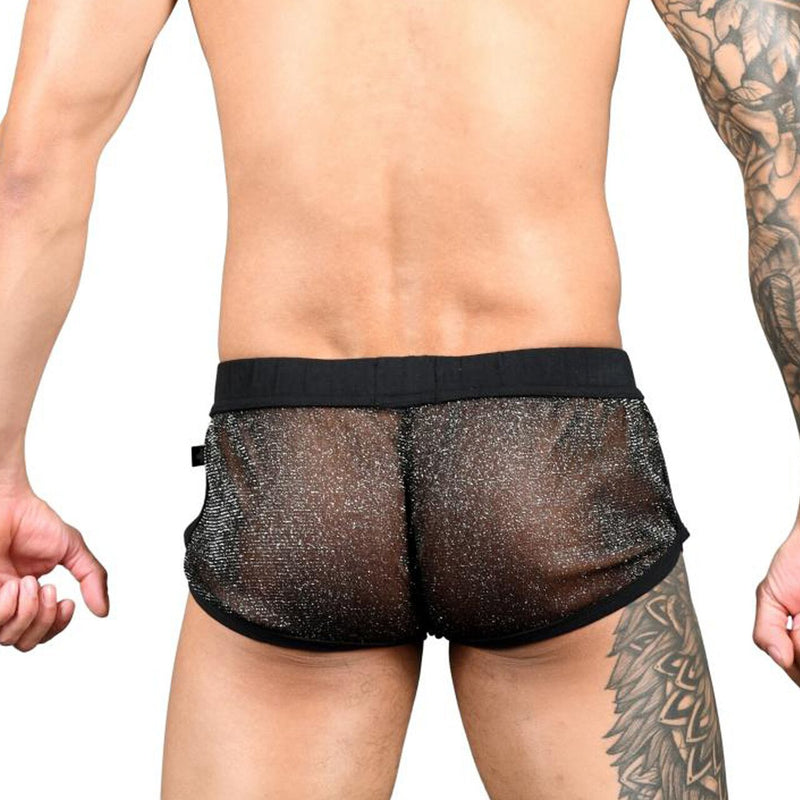 Mens Andrew Christian Sheer Sparkle Jogger Shorts
