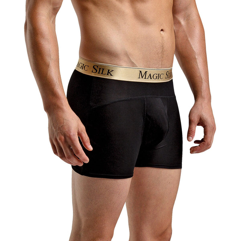 Mens Magic Silk 100% Silk Knit Boxer Shorts Black