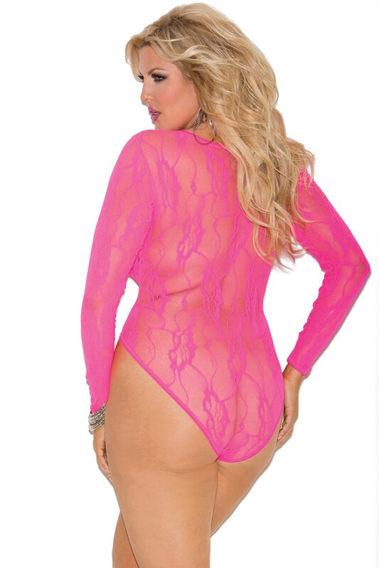 Floral Lace Long Sleeve Teddy Neon Pink