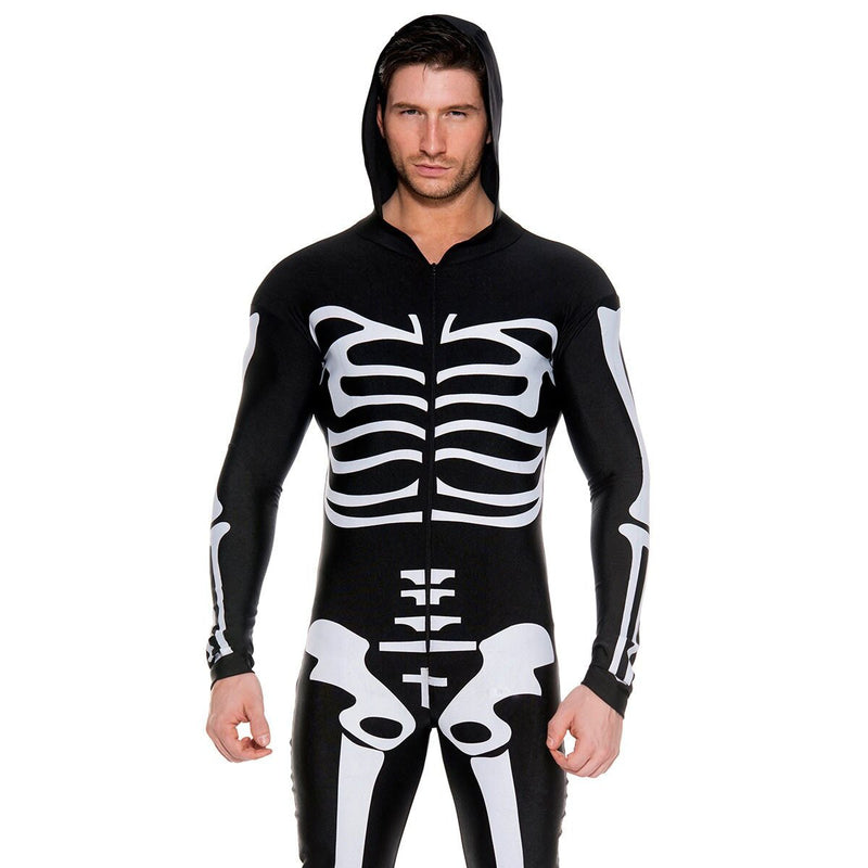 Mens Skeleton Scarey Jumpsuit Halloween Costume