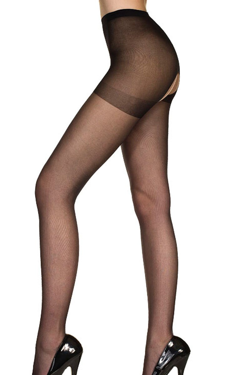 Sheer Nylon Open Front to Back Pantyhose, Great On Men Also! Black
