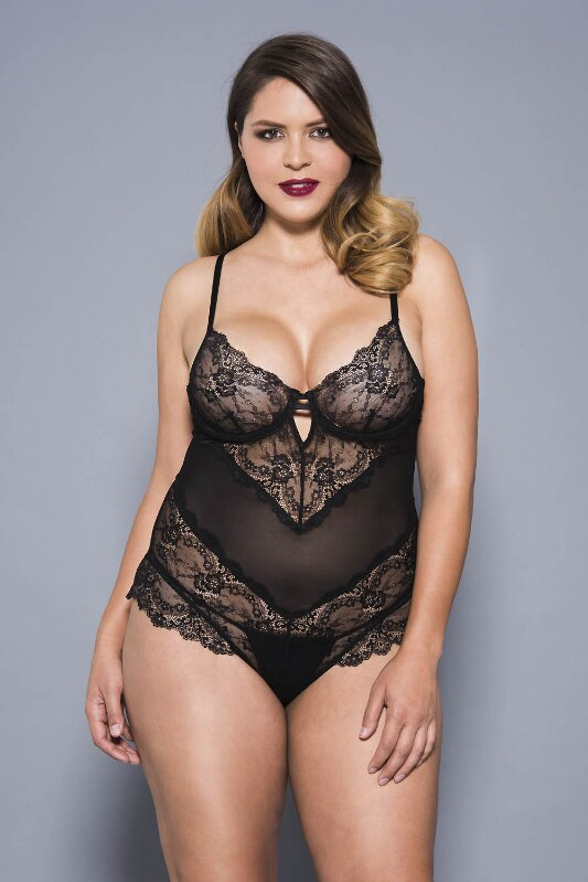 Flower Lace and Mesh Teddy with Underwire Cups Black