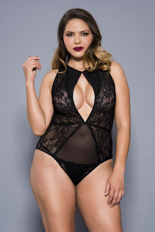 Glitter Flower Lace and Sheer Mesh Teddy Bodysuit Black
