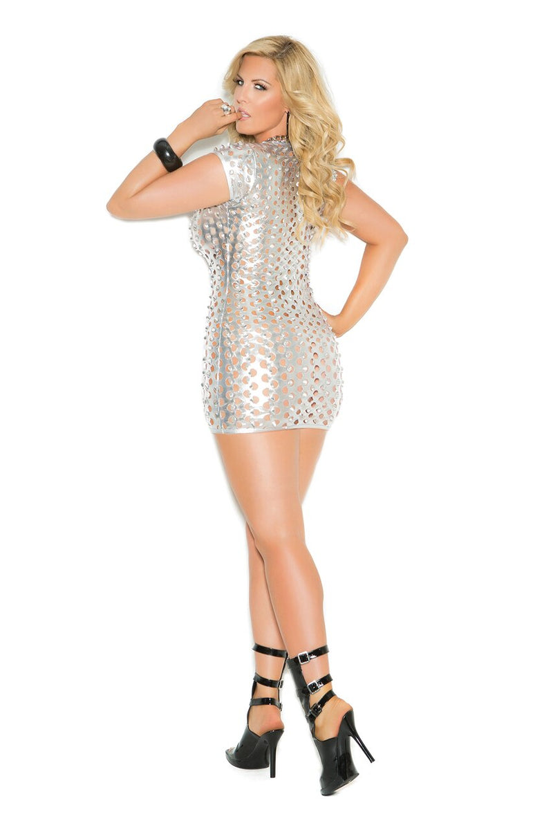 Silver Lame Short Sleeve Cut Out Mini Dress