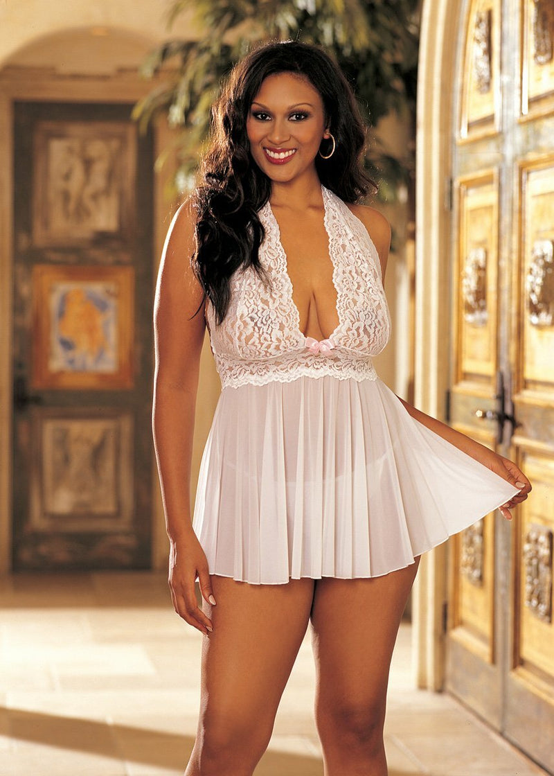 Stretch Mesh and Lace Babydoll with Bow Front White