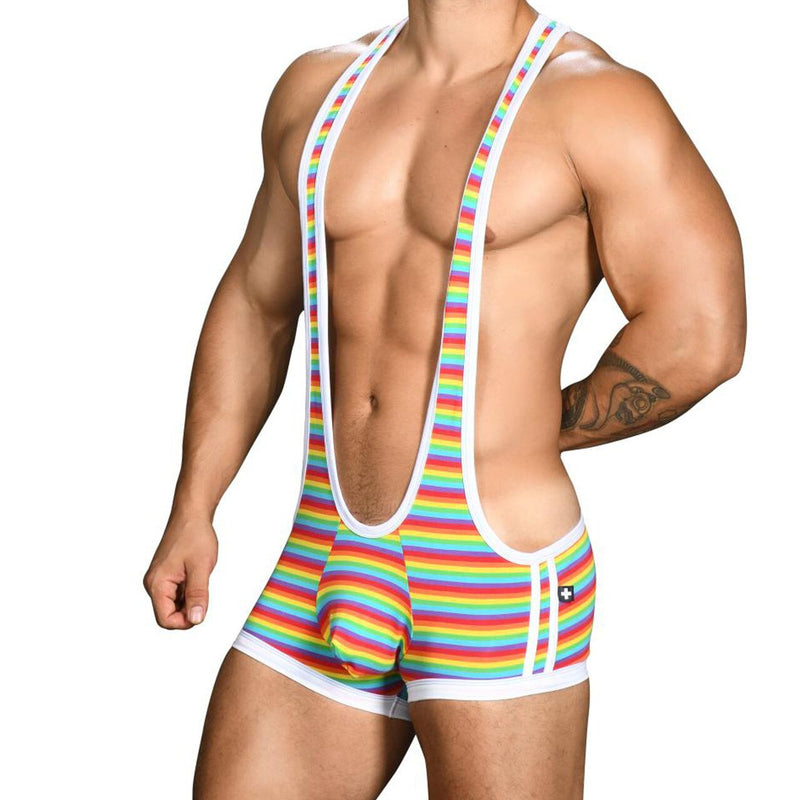 Mens Andrew Christian Pride Rainbow Stripe Singlet w/ Almost Naked