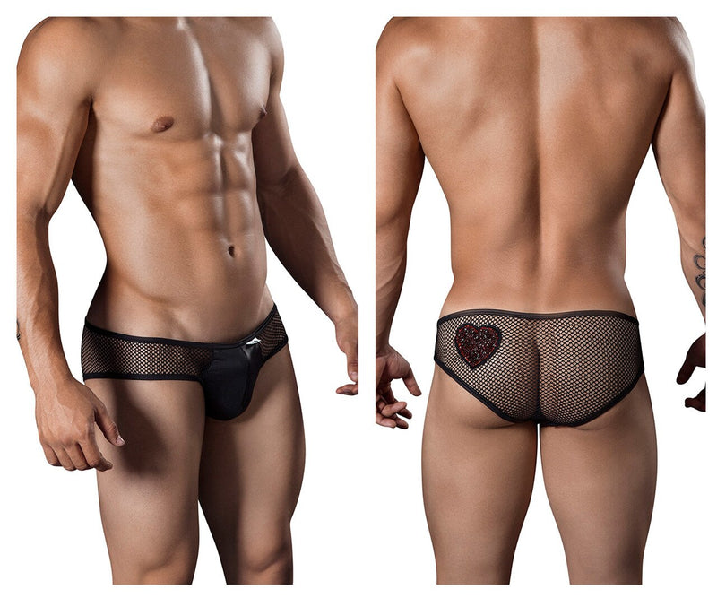 Mens Heart Fishnet Briefs