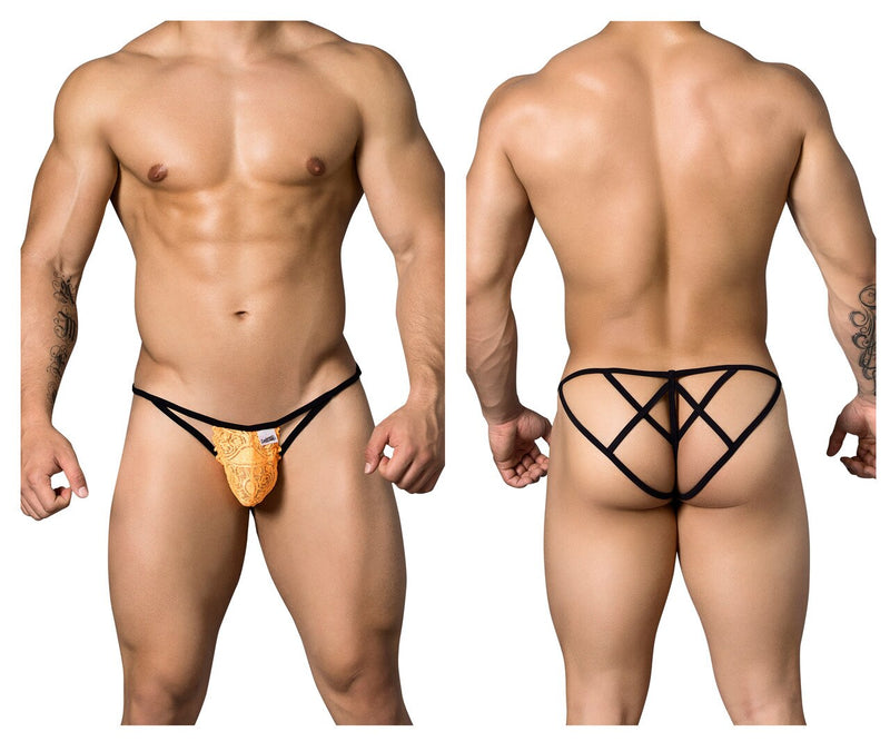 Male Candyman Lace Strappy Thong Underwear Orange