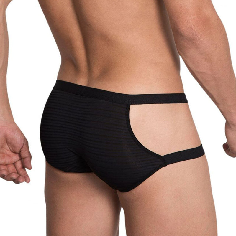 Mens Hidden Seduction Stretch Spandex Brief with Open Sides Black