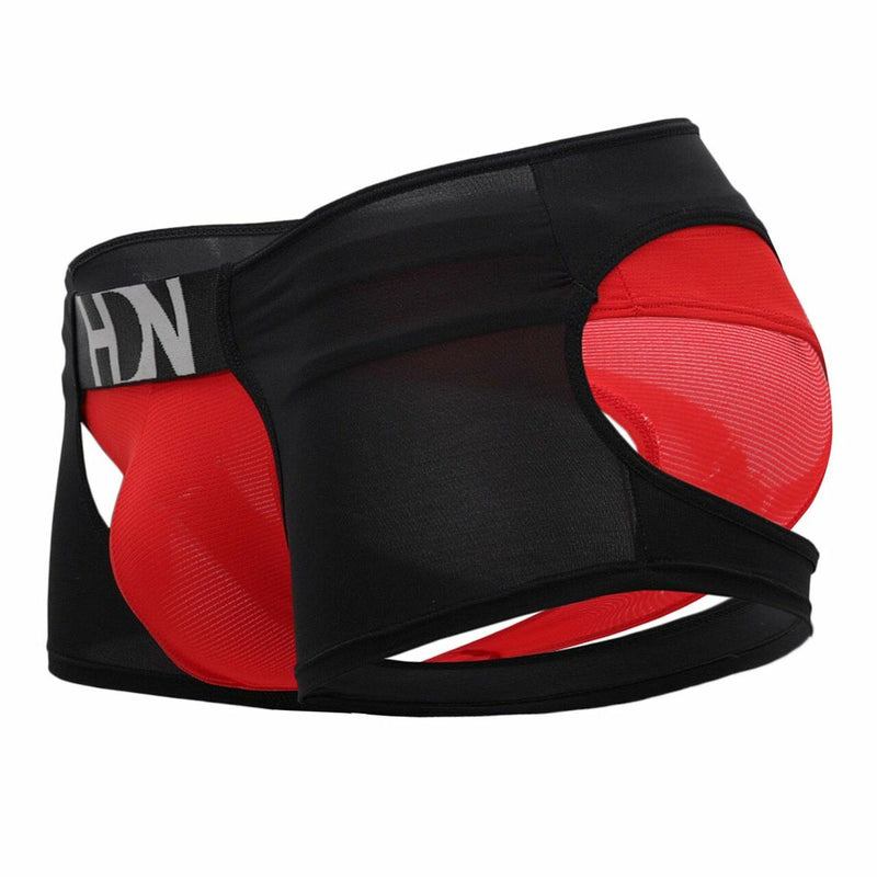 Mens Hidden Seduction Open Front & Back Hot Pants Shorts Black & Red