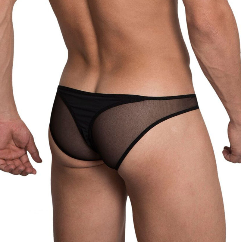 Mens Hidden Seduction Stretch Mesh & Spandex Brief with Thong Detail Black